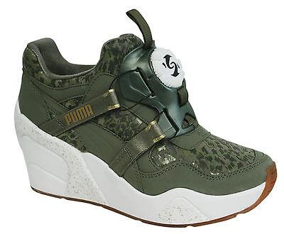 Puma Disc Wedge NC Womens Shoes Burnt Olive Trainers 357115 02 P1