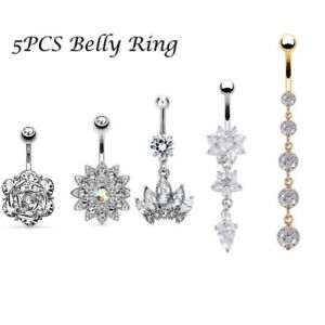 Details About 5pcs Stainless Steel Belly Button Ring Body Jewelry Set Dangle Navel Ring 14g