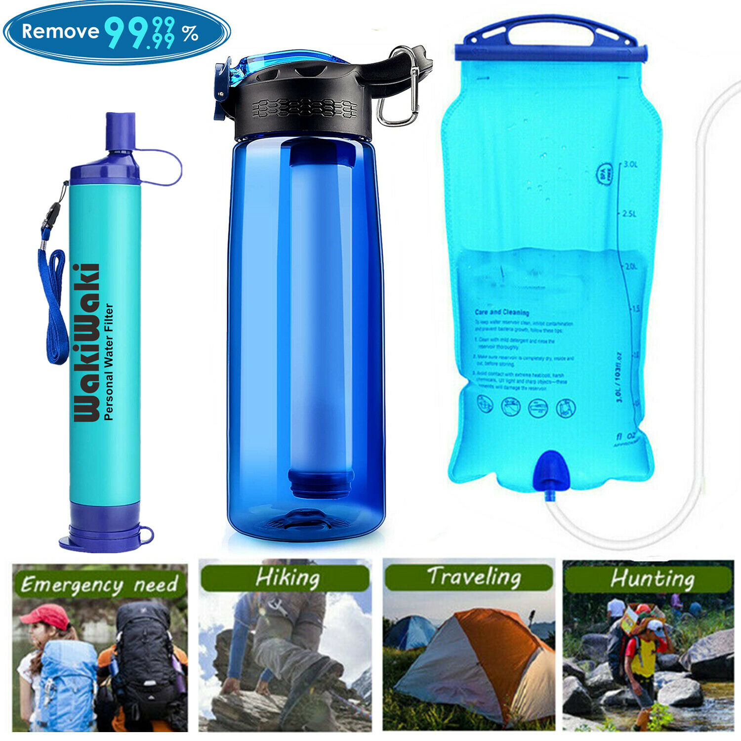 Portable Survival Water Filter Straw Purifier Filtration Emergency Sport Outdoor
