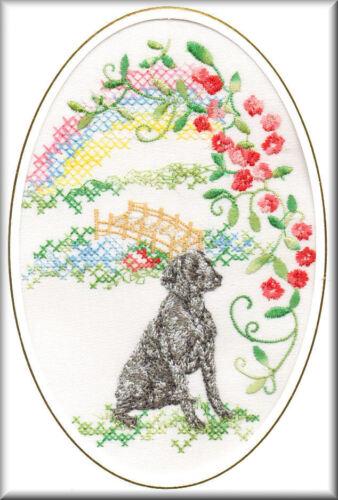 Weimaraner Rainbow Bridge Card Embroidered by Dogmania