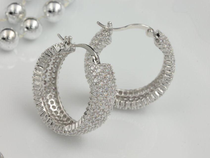 Micro pave Cubic Zircon Wedding Bride platinum plate C hoop stud Earrings A08