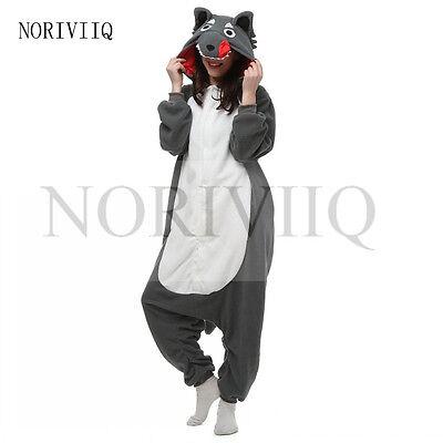NEW Animal Pajamas Costume Grey Wolf Kigurumi Cosplay Sleepwear Onesie Unisex UK