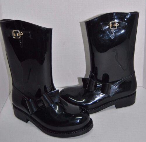 Red Valentino Black Bow Moto Rain Boots Size 39 EU