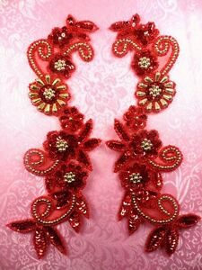 """0183 Mirror Pair Sequin Beaded Appliques Red Gold 10/""""  Set Floral"""