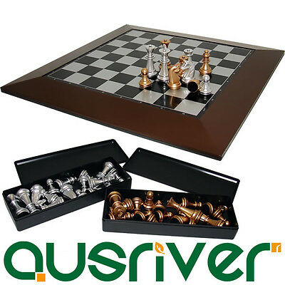 31CM Top Quality Magnetic Modern Colour Chess Set Wooden Game Chess Board