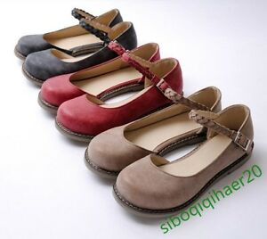 New-Women-Round-Toe-Casual-Retro-Shoes-Leather-Flats-Buckle-Mary-Janes-Plus-Size