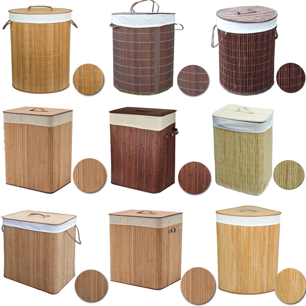 X large foldable bamboo laundry bin basket hamper linen cloth washing box lid ebay - Bamboo clothes hamper ...