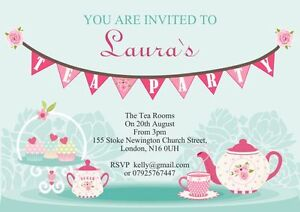 10 x personalised afternoon tea party invitations or thank you cards
