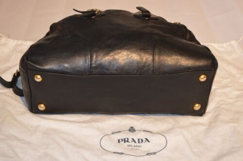 Detail Strap Leather Bag Black Gold Large Weekend Zip Handbag Shoulder Prada 4wtC0qx45