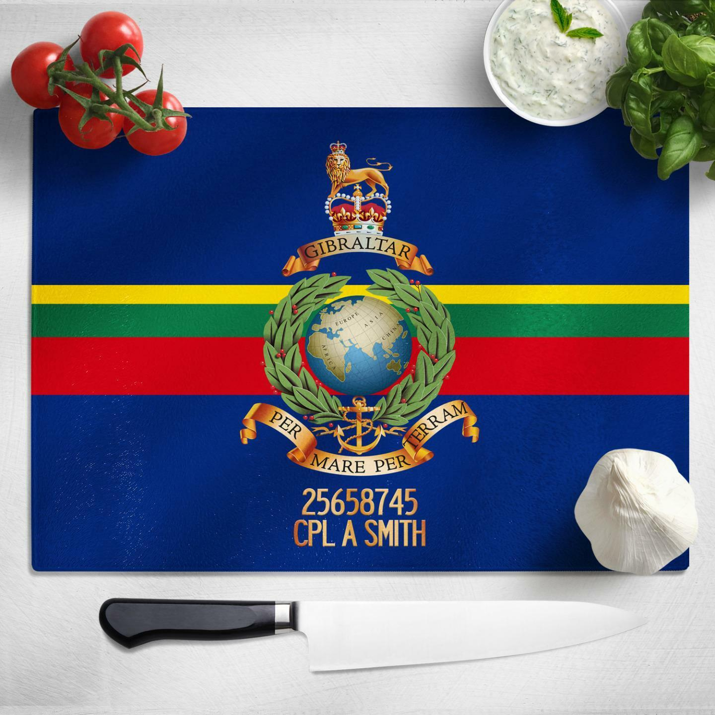 Personalised Royal Engineers Glass Chopping Cutting Board Worktop Saver MT39