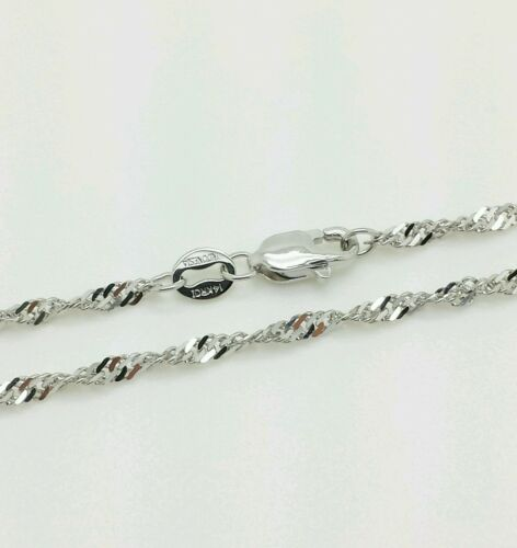"14k Solid White Gold Diamond Cut Singapore Twist Necklace Chain 18/"" 1.7mm"