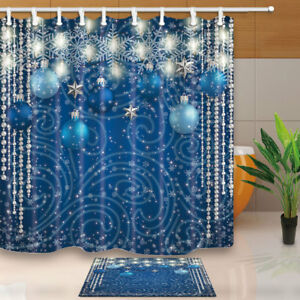 Image Is Loading Christmas Blue Balls Silver Stars Lights Snowflake Decor