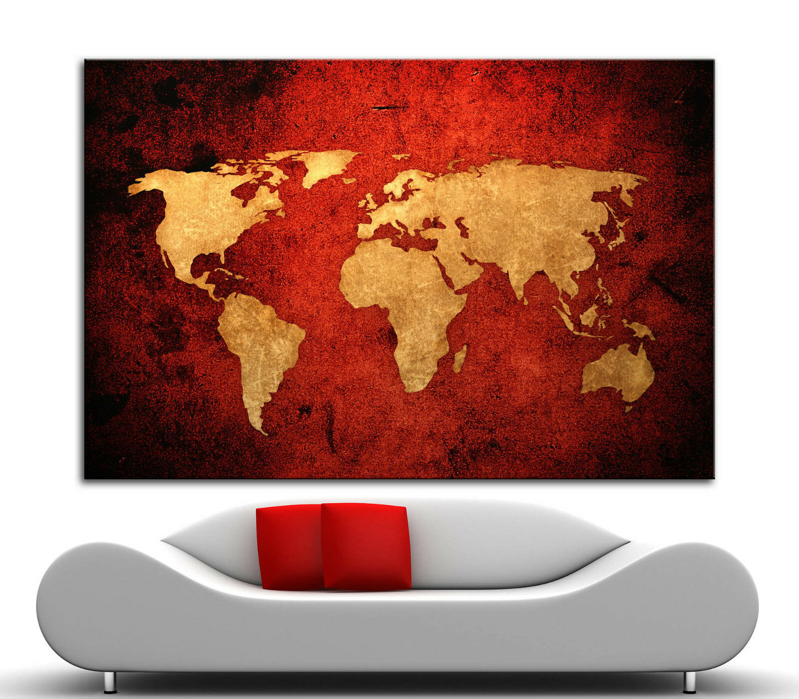 Canvas Giclee Home Wall Prints Vintage Old World Map Print Coloree Picture rosso