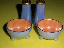 LUSTERWARE French Blue and Orange Porcelain Salt Cellars-or Dips and Shaker Set