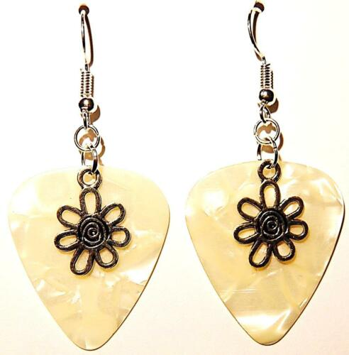 Details about  /Sm Flower Charm Guitar Pick Earrings Choose Color Handmade in USA