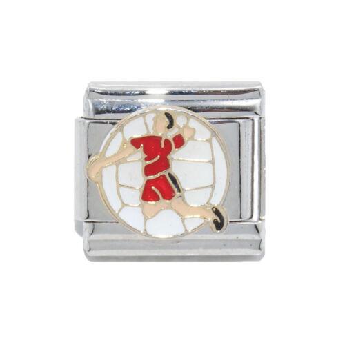 Volleyball Player enamel Italian charm fits 9mm classic Italian Charm bracelet
