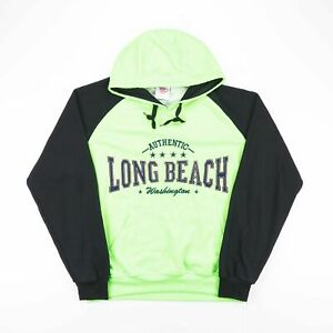 Vintage-Vert-Fluo-Big-Logo-Casual-Long-Beach-Pullover-Hoody-Taille-Homme-XL