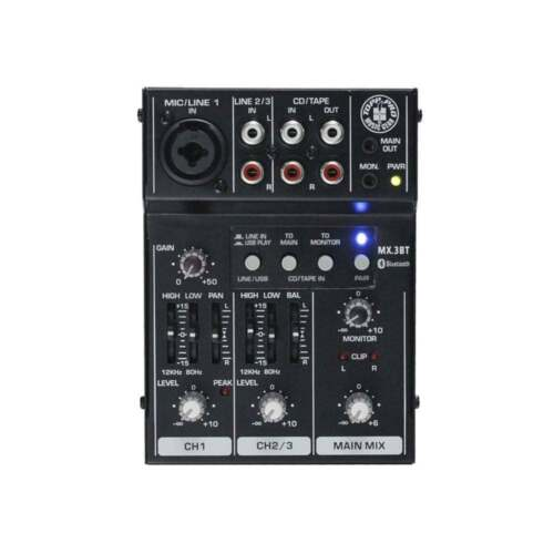 EQ /& Bluetooth Topp Pro MX3BT 3 Channel Mini Mixer With USB