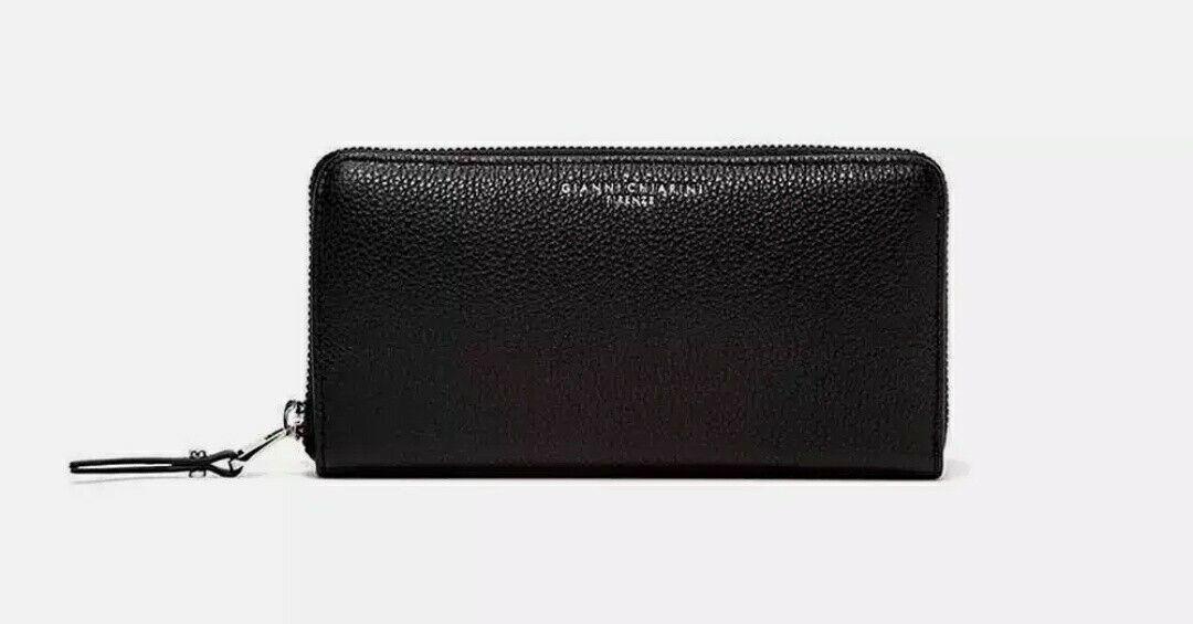 GIANNI CHIARINI Ladies Women's Wallet Purse ESSENTIAL OASI Black Italian Leather