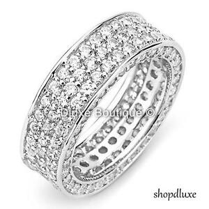 Two Row Cubic Zirconia Channel Set Princess Cut AAA CZ Anniversary Wedding Band Ring For Women925 Sterling Silver