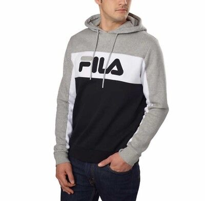 Fila Men's Logo Fleece Pullover Hoodie Size XL Grey Black White | eBay