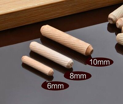 100pcs//box Woodworking Doweling Jig Kit Round Grooved Fluted Wooden Plugs 6*30mm