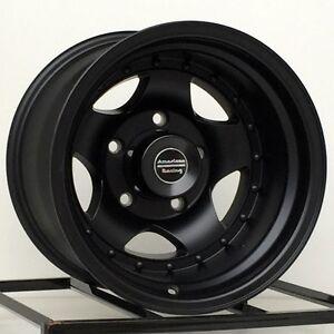 15 inch black wheels rims truck toyota pickup chevy gmc isuzu 6 lug 15x10 new 4. Black Bedroom Furniture Sets. Home Design Ideas