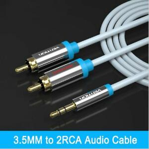 3 FT 3.5 mm Auxiliary Aux Plug to 2-RCA L R Jacks Gold Plated Audio Cable New