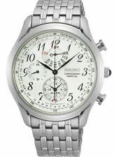 Seiko Chronograph Alarm Silver Dial Stainless Steel Men`s Watch SPC251P1 NIB