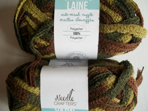 Needle Crafters Wide Mesh Ruffle yarn, Rio camouflage, lot of 2 15 yds each