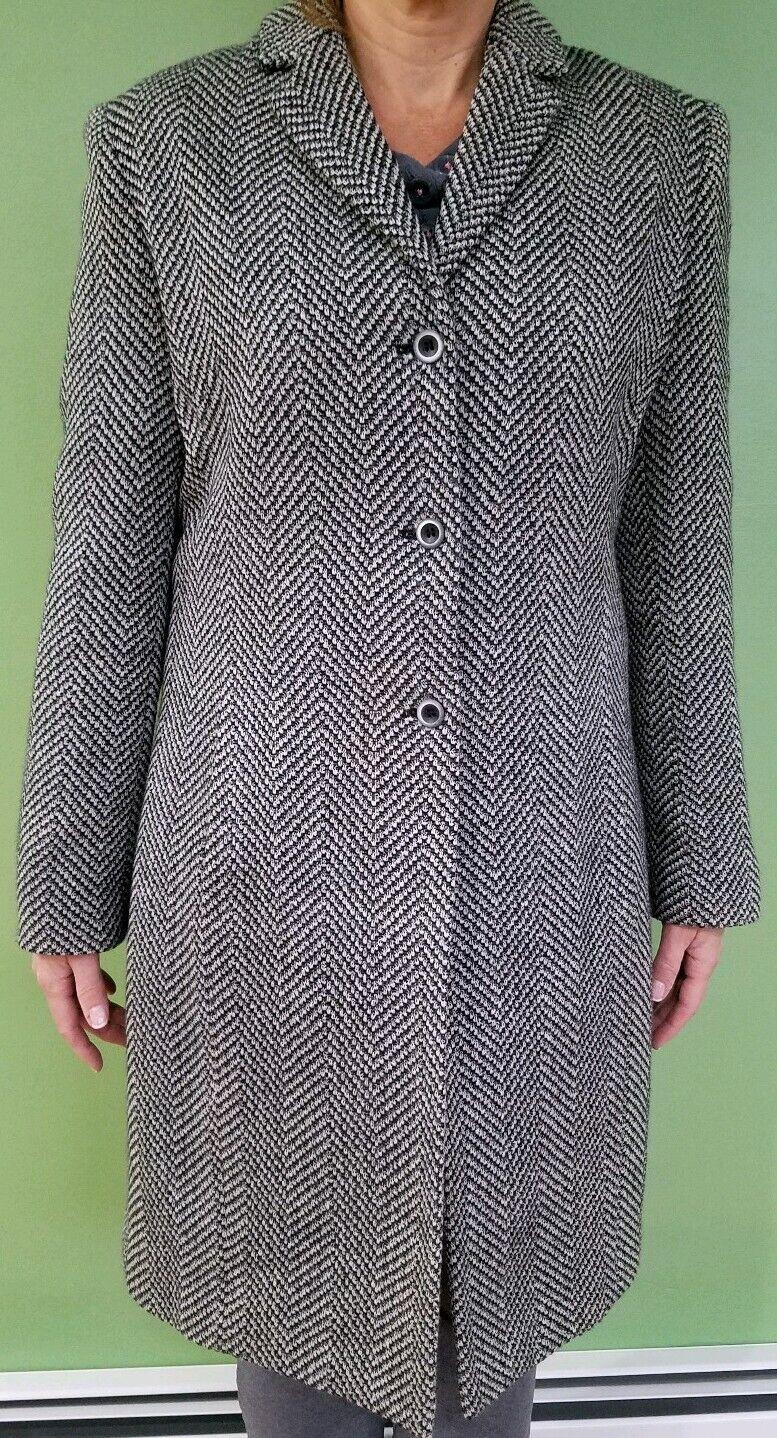 Rena Rowan Long Tweed Wool Coat Sz 12 maybe Medium 6 8