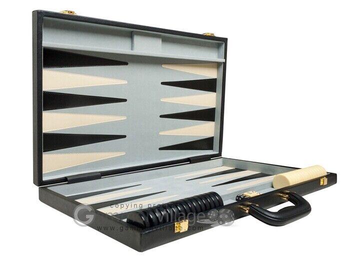 Hot comprar  nuevo torneo de lujo 21  Negro Cuero Backgammon Set