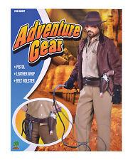 Indiana Jones Adventurer Holster + Whip Belt Set Fancy Dress Costume Props