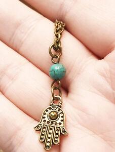Hamsa hand of god protection turquoise yoga amulet antique brass image is loading hamsa hand of god protection turquoise yoga amulet aloadofball Choice Image