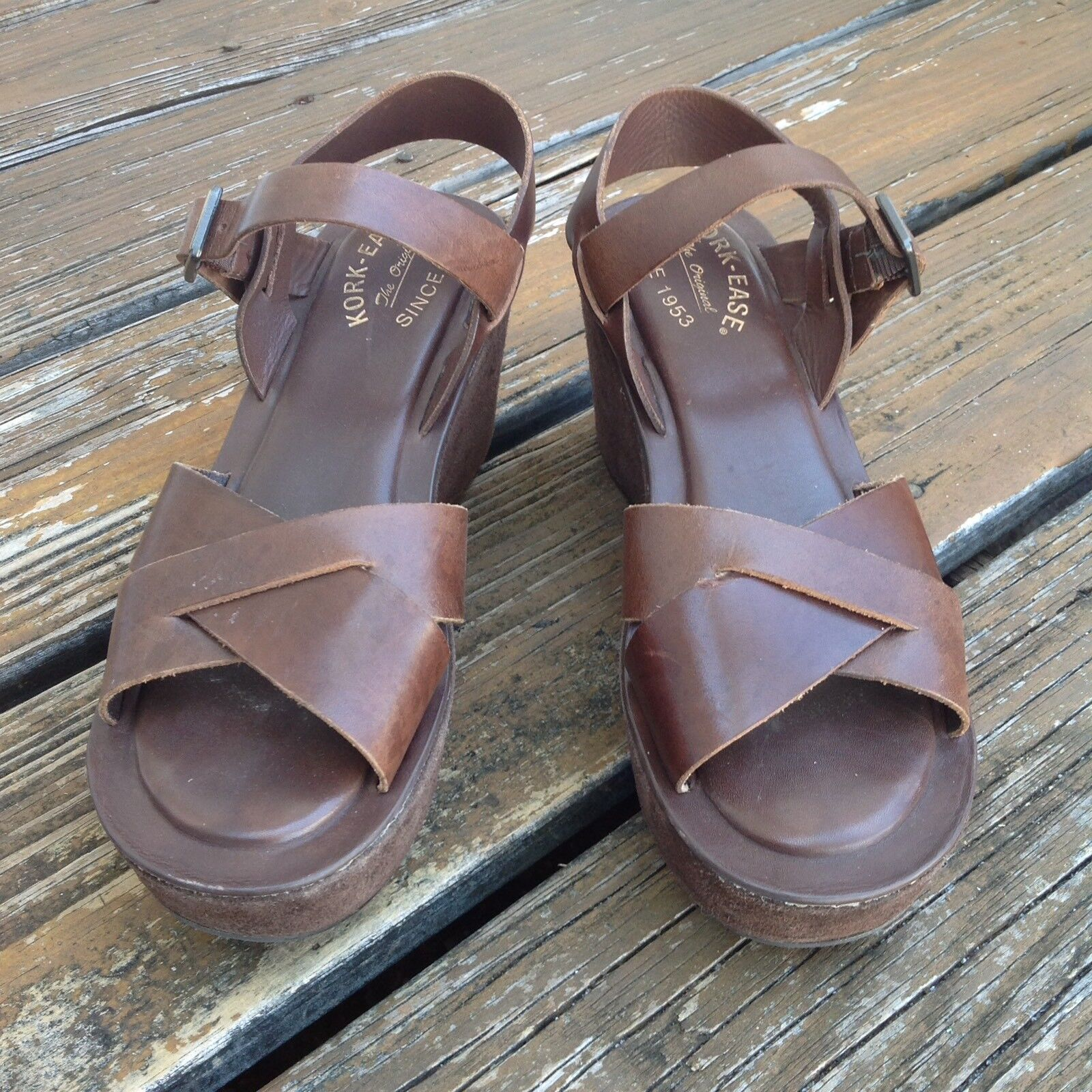 Kork Ease Braun Wedge Platform Sandales Damenschuhe 9 EU 39 Leder Suede Heels Schuhes