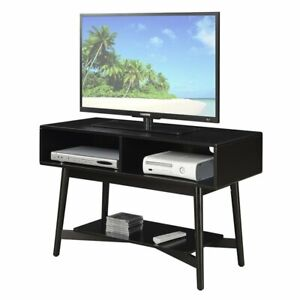 Convenience Concepts Savannah Mid Century TV Stand in Black