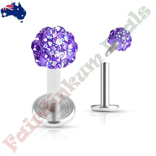 Purple Ferido Crystal Top 316L Surgical Steal Internal Thread Labret Monroe