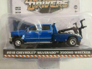 1:64 GreenLight *DUALLY DRIVERS 5* Blue 2018 Silverado 3500 TOW TRUCK WRECKER