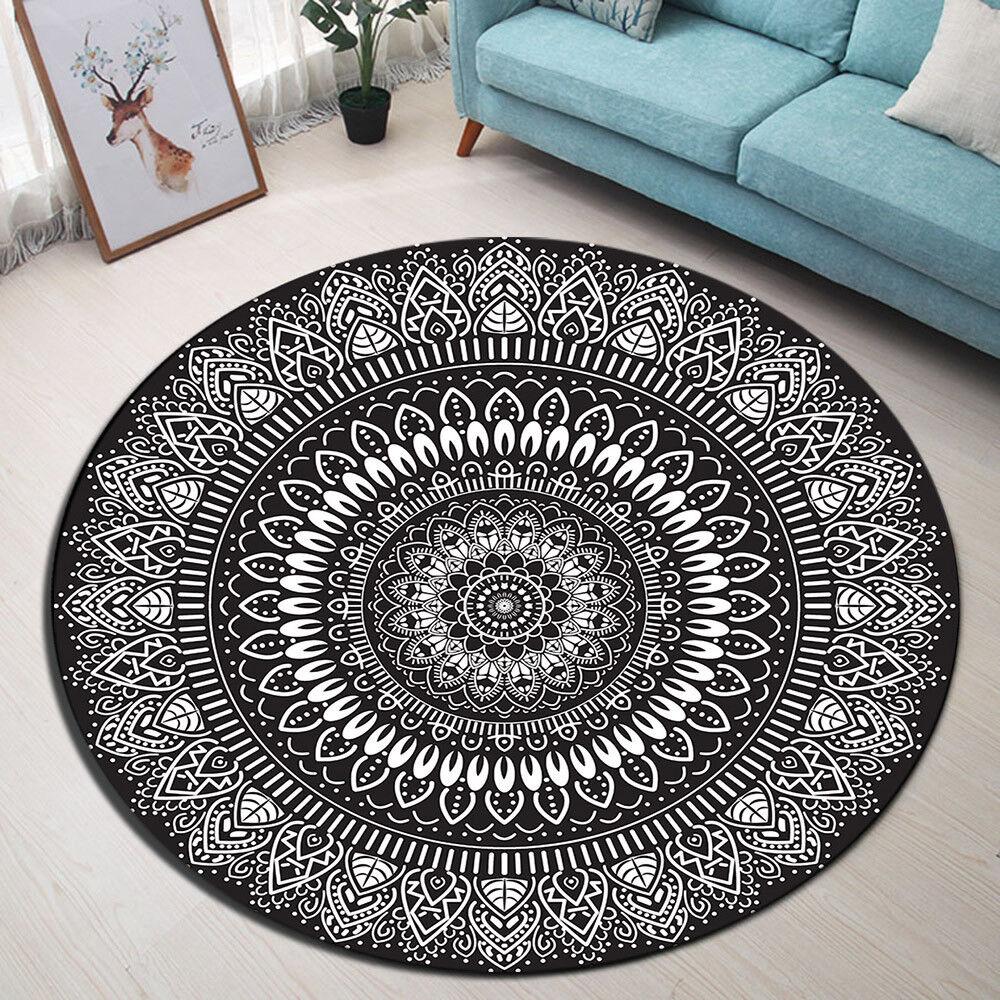 Black White Flower Yoga Bedroom Carpet