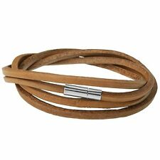 Urban Male Genuine Brown Leather Strand Wrap Style Bracelet for Men