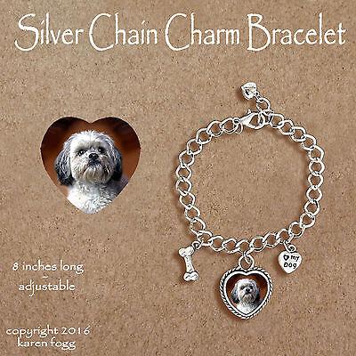SHIH TZU DOG LHASA APSO Ornate HEART PENDANT Tibetan Silver