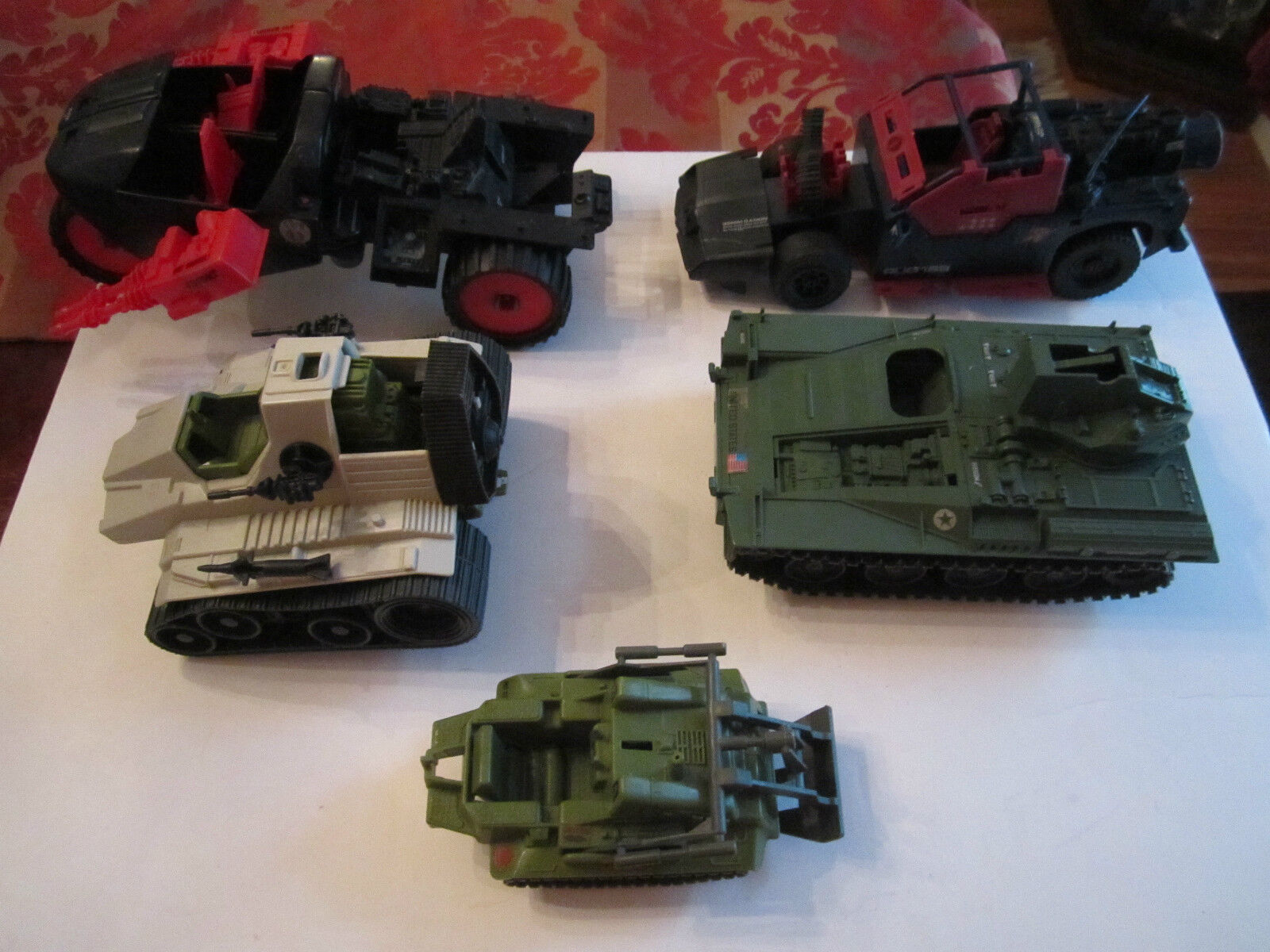 LOT OF 5 1980'S HASBRO MILITARY VEHICLES - LARGEST VEHICLE IS 12  LONG