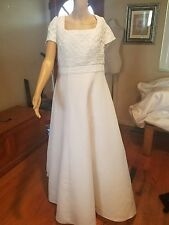 Forever yours wedding dress size 12 short sleeve weave bodice white