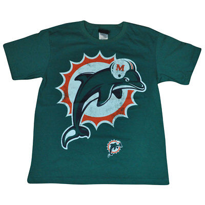 Nfl Miami Dolphins Flossen Distressed Übergroße Logo T-shirt Dk4075 L 14/16 Fanartikel