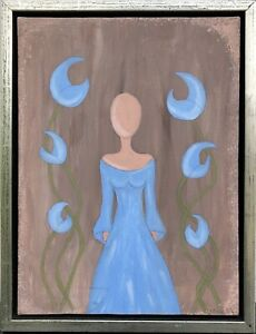 Unknown-Expressionist-Modern-Composition-Figure-Woman-Blue-Dress-Flowers