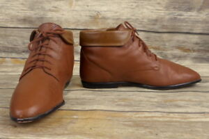994cc9705038b Hunt Club Brown Leather Ankle Boots Womens Size 7 M Vintage Shoes ...