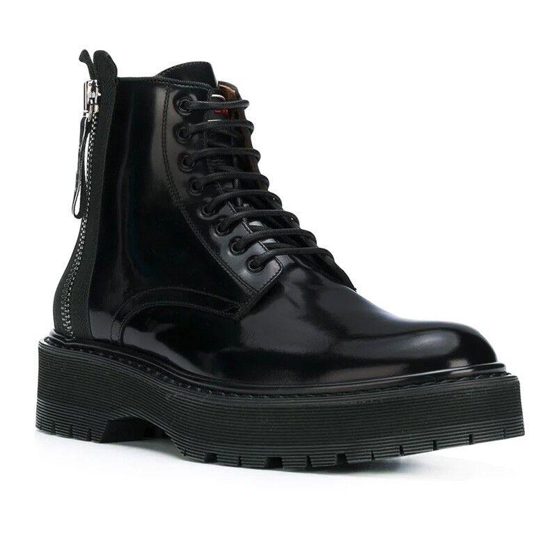 Mens Mens Mens nero genuine Leather Creepers Punk scarpe Platform Motorcycle Ankle stivali b6e42a