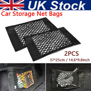 2Pcs Universal Car Seat Back Storage Elastic Mesh Net Bag Luggage Holder Pocket