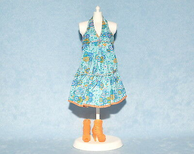 CUTE Blue Teal w// Orange Trim Genuine BARBIE Sleeveless Dress w// Heels