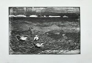 Aquatinta-aguafuerte-patos-en-el-agua-r-snes-Seeland-Dinamarca-invierno-1978